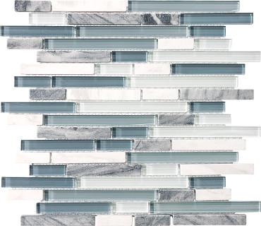 Waterfall Glass Stone Linear Blend Mosaics