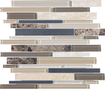 Woodland Park Glass Stone Stainless Linear Mosaics