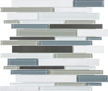 Nordic Storm Glass Stone Stainless Linear Mosaics