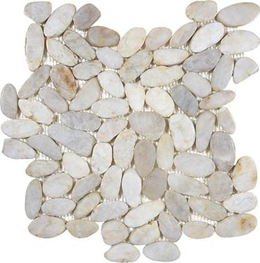 Zen Fiji Cream Flat Polished Pebble Mosaics 12x12