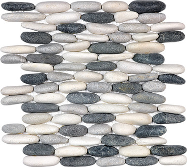 Tranquil Cool Blend Stacked Pebble Mosaics 12x12