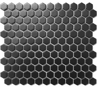CC Mosaics - Hexagon Black Matte 1x1 on 12X12 Sheet