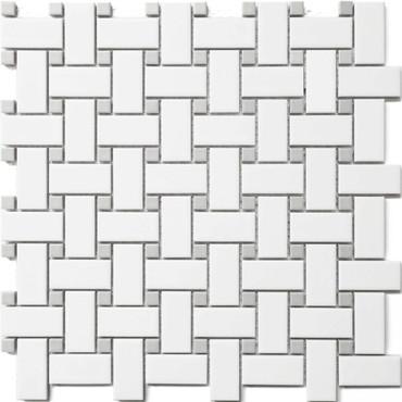 CC Mosaics - White & Grey Basket Weave Wave Dot 12x12