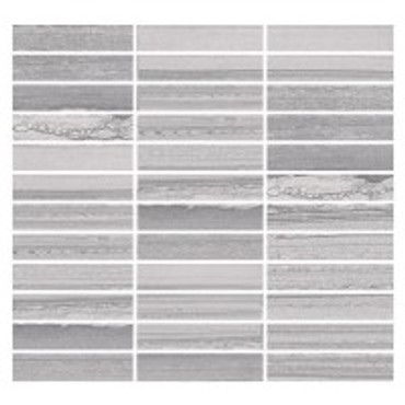 Lakestone Silver 1x4 Mosaic on 12x12 Sheet
