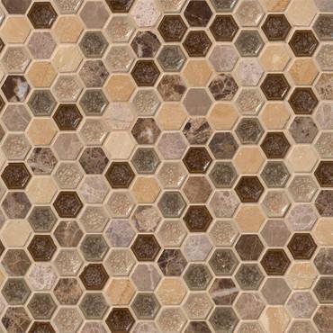 """Kensington 1"""" Hexagon Mosaics on 12x12 Sheet"""