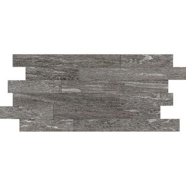 "Ambassador - Voyager Black Unpolished Random Linear Mosaic 12"" x 24"""