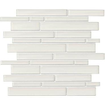 "Amity - White Random Linear Glass Mosaic 11-7/16"" x 13-7/8"""