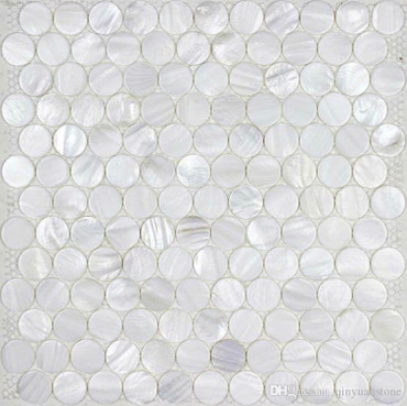 """Mother of Pearl Super White Pearl 1"""" Penny Round on 12x12 Sheet (PWJ02-025)"""