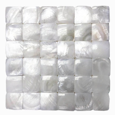 Mother of Pearl Super White Pearl 3D Tight Joint Mosaic 7/8x7/8 on 11-3/4x11-3/4 Sheet (PWT02-2020-3D)