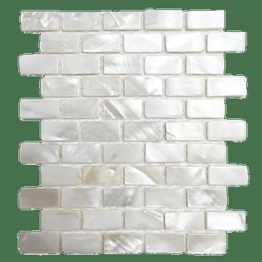 Mother of Pearl Super White Pearl Mini Brick Mosaic 3/8x7/8 On 12x12 Sheet (PWJ02-1020)