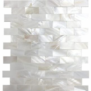 Mother of Pearl Super White Pearl Mini Brick Mosaic Tight Joint 3/8x7/8 on 12x12 Sheet (PWT02-1020)