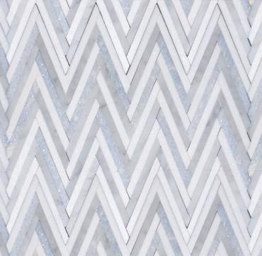 Manhattan Blue Carrara & Thassos Polished Skinny Chevron Mosaic (MB160)