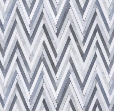 Manhattan Bardiglio Carrara & Thassos Polished Skinny Chevron Mosaic (MB161)