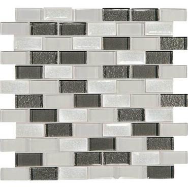 "Crystal Shores - Diamond Delta Glass Brick Joint Mosaic 2"" x 1"" On 11-3/4"" x 12-3/4"" Sheet"