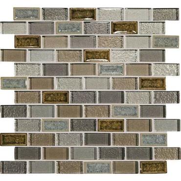 "Crystal Shores - Sapphire Lagoon Glass Brick Joint Mosaic 2"" x 1"" On 11-3/4"" x 12-3/4"" Sheet"
