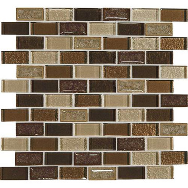 """Crystal Shores - Copper Coast Glass Brick Joint Mosaic 2"""" x 1"""" On 11-3/4"""" x 12-3/4"""" Sheet"""