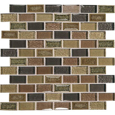 "Crystal Shores - Aurelian Seas Glass Brick Joint Mosaic 2"" x 1"" On 11-3/4"" x 12-3/4"" Sheet"