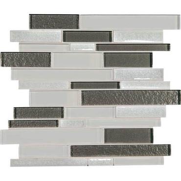 "Crystal Shores - Diamond Delta Glass Random Linear Mosaic 11-3/4"" x 13-7/8"" Sheet"