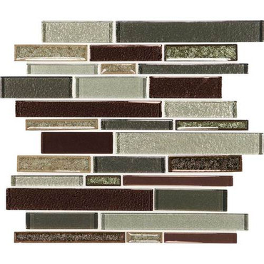 "Crystal Shores - Hazel Harbor Glass Random Linear Mosaic 11-3/4"" x 13-7/8"" Sheet"