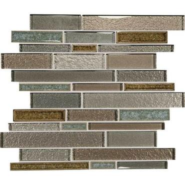 "Crystal Shores - Sapphire Lagoon Glass Random Linear Mosaic 11-3/4"" x 13-7/8"" Sheet"
