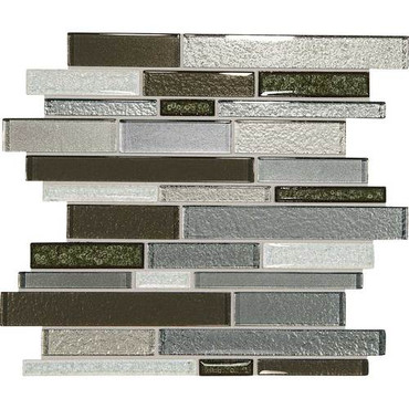 "Crystal Shores - Emerald Isle Glass Random Linear Mosaic 11-3/4"" x 13-7/8"" Sheet"