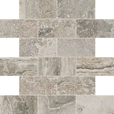 Exquisite Collection - Silverstone Brick Joint Mosaic 2x4 On 12x12 Sheet