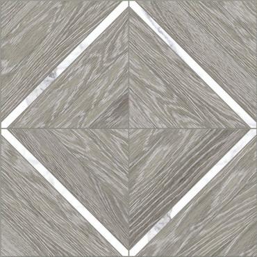 Aspen Beachcomber with Statuario 16x16 Marquetry Mosaic