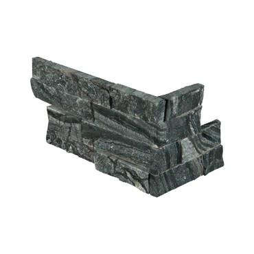 "Ledger Panel Glacial Black Splitface ""L"" Corner 6x12x6 (LPNLMGLABLK618COR)"