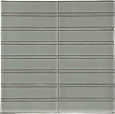 """Element Smoke Stacked Glass Mosaics 1.5"""" x 6"""" (35-116)"""