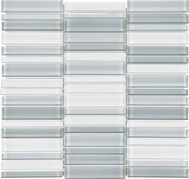 Element Shades of Grey Blended Straight Stacked Glass Mosaics (35-097)
