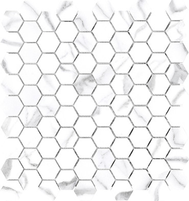 Mayfair Statuario Venato 1.25x1.25 HD Hexagon Polished Porcelain Mosaics (69-923)