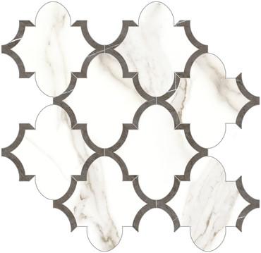 Mayfair Calacatta Oro Arabesque HD Polished Porcelain Mosaics (69-966)