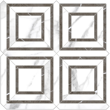 Mayfair Statuario Venato Piazza HD Polished Porcelain Mosaics (69-970)