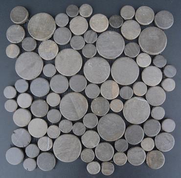 Tumbled Marble Mosaic Java Coins Ebony 12x12 Seamless Interlocking (TOETMMJCEBO1212)