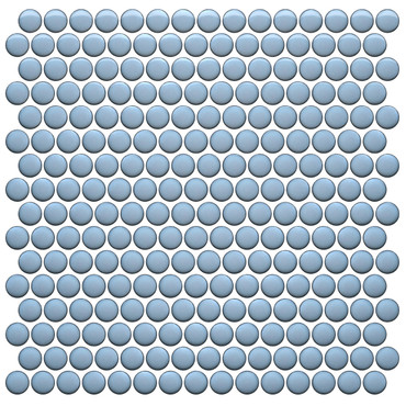 CC Mosaics Plus+ Sky Blue Bright Penny Round Mosaic 12x12 (UFCC124-12M)