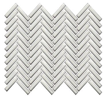 CC Mosaics Plus+ Antique White Bright Herringbone Mosaic 12x12 (UFCC129-12M)