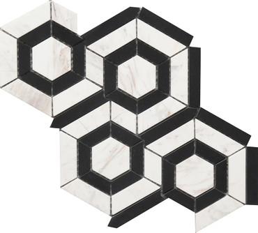 Black and White Hexagon Marble Mosaic 9x12 (USTMBWHX012)