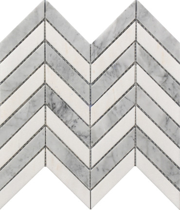 Chevron White and Gray Marble Mosaic 11x12 (USTMCHEV011)