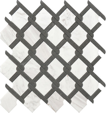 Black and White Medallion Marble Mosaic 12x12 (USTMNETB009)
