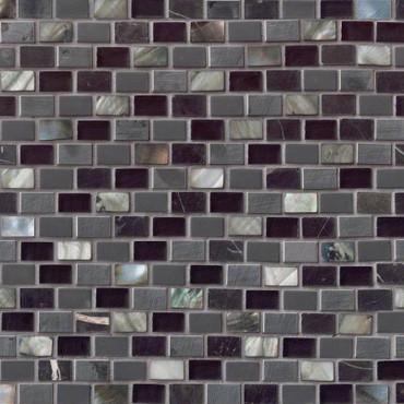 Midnight Pearl Mini Brick Pattern Mosaic (SMOT-SGLSMT-MNPRL8MM)