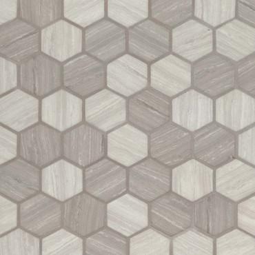 "Silva Oak 2"" Hexagon Mosaic (SMOT-GLS-SILVA6MM)"