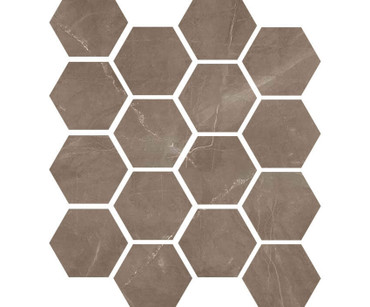 "Luxury Amani Bronze 3"" Hexagon Mosaic on 9x11 Sheet (1099586)"