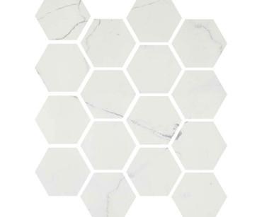 "Luxury Calacatta 3"" Hexagon Polished Mosaic on 9x11 Sheet (1099591)"