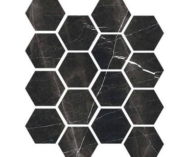 """Luxury Nero Marquina 3"""" Hexagon Polished Mosaic on 9x11 Sheet (1099566)"""
