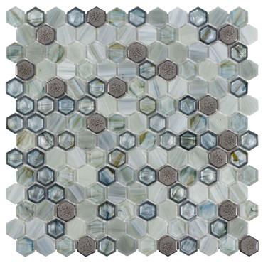 Glassique Brocade Lagoon Hexagon Mosaic (ANTHGLBRL)