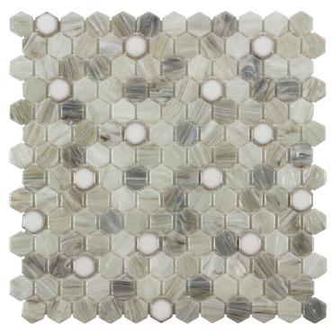 Glassique Brocade Sepia Hexagon Mosaic (ANTHGLBRS)