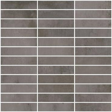 Metal Max 2.0 Dark Grey Porcelain Mosaic 1x4 on 12x12 Sheet (HMM03F2398-H)