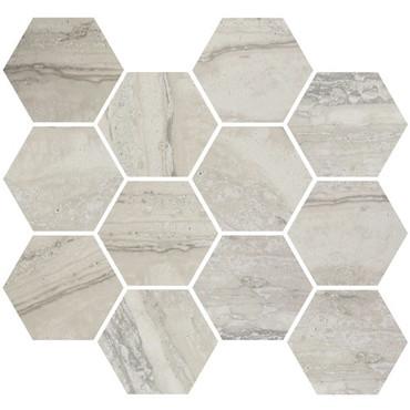 Nova Silver Matte / Polished Blend Hex Mosaic 3.25 (ZZ6387ASQQ054HP)