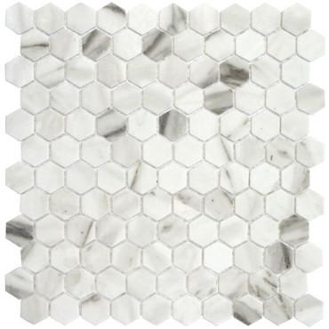 """Onix Hex Blends Calacatta Malla 1"""" Hex Mosaic on 12x12 Sheet (203259)"""