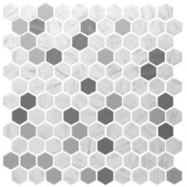 """Onix Hex Blends Metal Carrara 1"""" Hex Mosaic on 12x12 Sheet (202941)"""